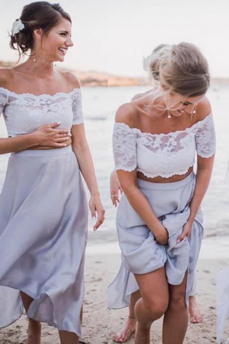 Charming Two Pieces Off-the-Shoulder Long Chiffon Bridesmaid Dress with Lace