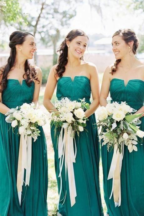 Stylish A-Line Straight Across Floor-Length Chiffon Bridesmaid Dress
