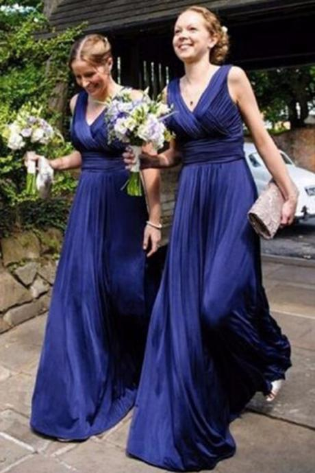 Cheap A-Line V-Neck Royal Blue Chiffon Long Bridesmaid Dress with Pleats