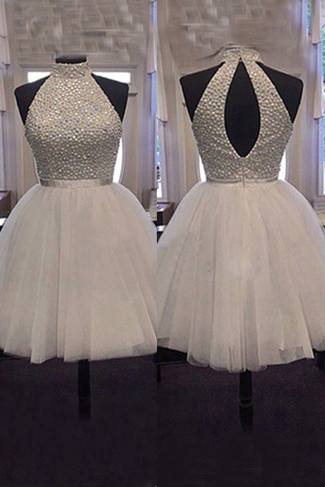 Cute High-neck Short Tulle Open Back Homecoming /Party Dress with Beaded