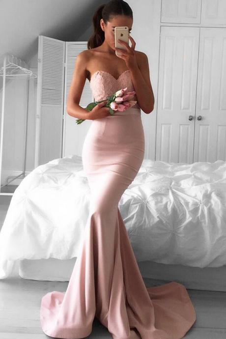 Stunning Mermaid Sweetheart Pink Satin Long Prom/Bridesmaid Dress with Sweep Train and Lace